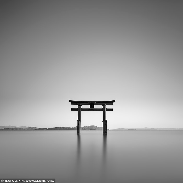portfolio stock photography | Shirahige-jinja Shrine Floating Torii at Lake Biwa, Takashima, Shiga Prefecture, Japan, Image ID JAPAN-LAKE-BIWA-0001
