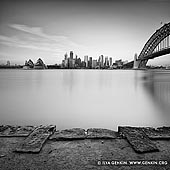 portfolio stock photography | City of Sydney from Kirribilli, Sydney, NSW, Australia, Image ID SYDNEY-IN-SQUARE-0004. Beautiful black and white photo of the Sydney city skyline with the Opera House and the Harbour Bridge from Kirribilli in Sydney, NSW, Australia.