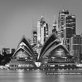 portfolio stock photography | Sydney Opera House and City at Night, Kirribilli, Sydney, New South Wales (NSW), Australia, Image ID SYDNEY-IN-SQUARE-0008. Black and white fine art photo of the Sydney Opera House with the Sydney City in a background at night as it was seen from Kirribilli, NSW, Australia.