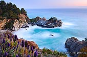 portfolio stock photography | McWay Falls after Sunset, Julia Pfeiffer Burns State Park, Big Sur, Monterey County, California, USA, Image ID AMERICAN-SOUTHWEST-0002. McWay Falls is one of those hidden California treasures and incredibly scenic waterfall located thirty minutes south of Big Sur in Julia Pfeiffer Burns State Park. McWay Creek drops 84 feet off a cliff onto the beach nestled in a pretty little cove. The overlook view of the cove where the waterfall drops, is stunning to say the least. Unfortunately, you cannot get down onto the scenic beach (legally), as the cliffs are too crumbly and dangerous to descend (and if you try it, be prepared to receive a very hefty fine). The bright green water and white sands has many people think this is an image from Hawaii! That beach makes you want to just get your chair, drinks and take out from Mike's Cafe and sit right down by the waterfall. Another great place to be on a Friday afternoon. The view is stunning, and the waterfall is alluring and out of reach.
