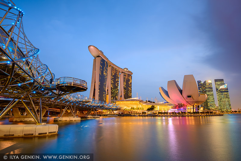 singapore stock photography | Marina Bay Sands Hotel at Sunset, Marina Bay, Singapore, Image ID SINGAPORE-0001