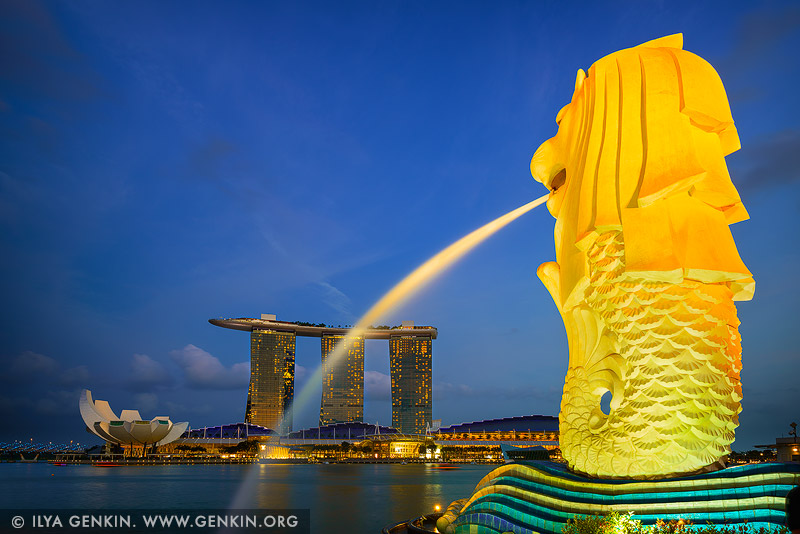 singapore stock photography | The Merlion and Marina Bay Sands Hotel at Sunset, Marina Bay, Singapore, Image ID SINGAPORE-0005