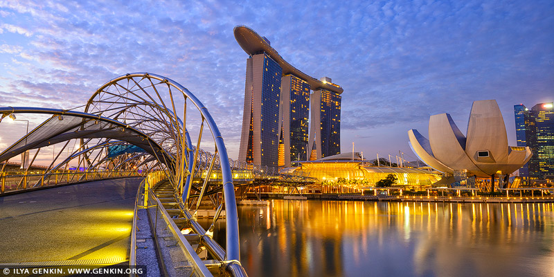 singapore stock photography | Marina Bay Sands Hotel and Helix Bridge at Sunrise, Marina Bay, Singapore, Image ID SINGAPORE-0006