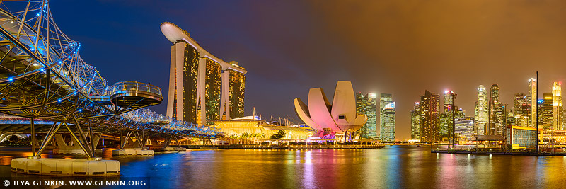 singapore stock photography | Singapore Downtown Panorama at Night, Marina Bay, Singapore, Image ID SINGAPORE-0008
