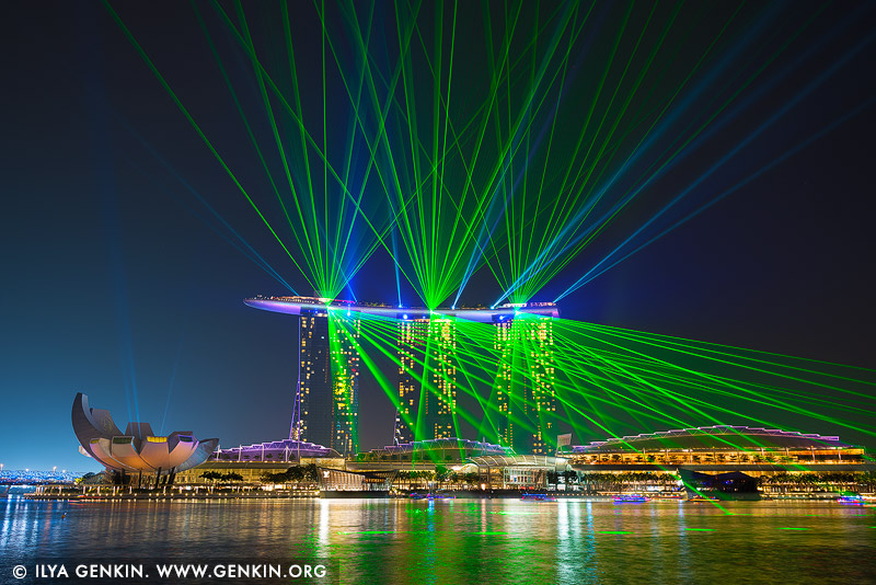 singapore stock photography | Marina Bay Sands Light and Water Show, Marina Bay, Singapore, Image ID SINGAPORE-0009