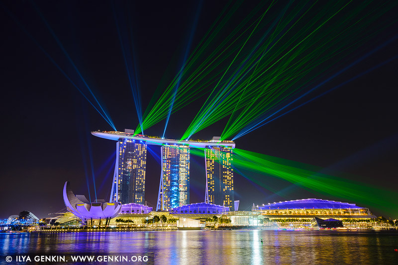 singapore stock photography | Marina Bay Sands Light and Water Show, Marina Bay, Singapore, Image ID SINGAPORE-0011