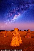 stock photography | Milky Way Over The Pinnacles Desert, Nambung National Park, WA, Australia, Image ID MILKY-WAY-STARRY-SKY-0002. When it comes to stargazing and astronomy, West Australians are very lucky. WA is quickly becoming an iconic global astronomy destination because the stars and science are right on our doorstep. Being so isolated, WA has some of the darkest night skies on earth. Scientists and stargazers are coming from around the world to enjoy the amazing natural asset over our heads. WA has some of the best night skies in the world and some of the most remarkable places to view them from. One of the best places to enjoy night sky is The Pinnacles Desert in Nambung National Park just north from Perth.
