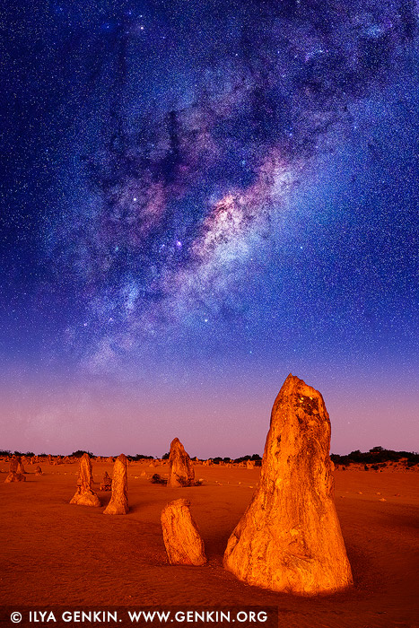 stock photography | Starry Night in The Pinnacles Desert, Nambung National Park, WA, Australia, Image ID MILKY-WAY-STARRY-SKY-0003