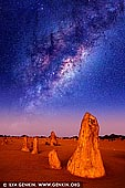 stock photography | Starry Night in The Pinnacles Desert, Nambung National Park, WA, Australia, Image ID MILKY-WAY-STARRY-SKY-0003. Western Australia offers some of the best stargazing spots because of its remote location and very little light pollution. This is why many stargazers and astronomers from around the world make the journey here to get a better view of the stars and capture stunning images. Fortunately, you don't have to be an astronomer to stargaze as everyone can appreciate the night sky. You just need to be as far away as possible from light pollution. If you want to take a 250km drive you will be treated with spectacular views at The Pinnacles, located in the Nambung National Park. You can capture interesting images of a blanket of stars stretching above limestone structures. Under moonlight, the shapes of the Pinnacles cast wonderful shadows.