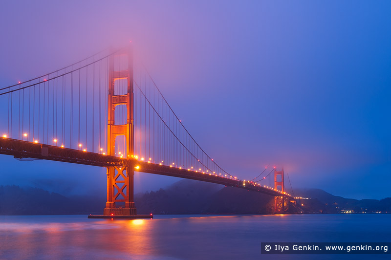 usa stock photography | The Golden Gate Bridge Early in the Morning, San Francisco Bay, California, USA, Image ID US-SAN-FRANCISCO-GOLDEN-GATE-0001