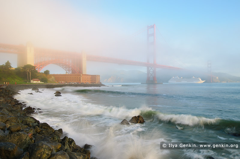usa stock photography | The Golden Gate Bridge in Fog at Sunrise, San Francisco Bay, California, USA