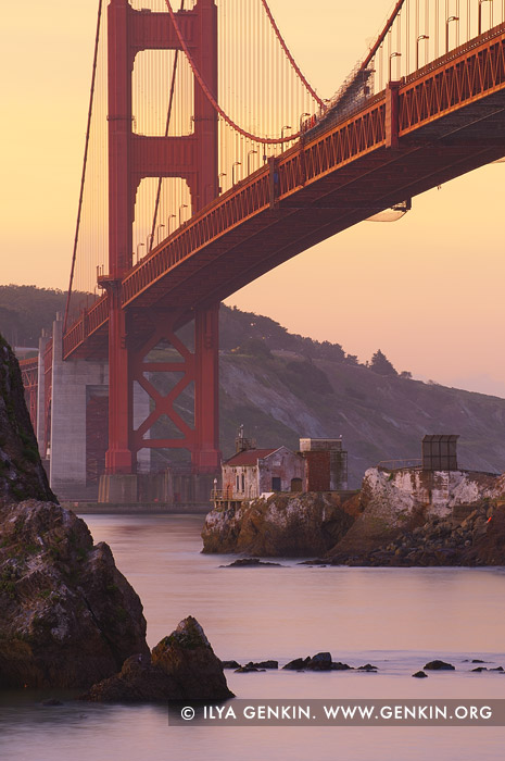 usa stock photography | The Golden Gate Bridge at Twilight, Horseshoe Bay, Sausalito, San Francisco Bay, California, USA