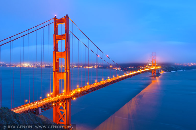 usa stock photography | The Golden Gate Bridge after Sunset, San Francisco Bay, California, USA, Image ID US-SAN-FRANCISCO-GOLDEN-GATE-0005