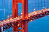 usa stock photography | Close-up View of The Golden Gate Bridge, San Francisco Bay, California, USA, Image ID US-SAN-FRANCISCO-GOLDEN-GATE-0006. Stock image of close-up view of The Golden Gate Bridge in San Francisco Bay, California, USA after sunset.