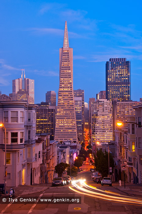 usa stock photography | Transamerica Pyramid at Dusk, San Francisco, California, USA, Image ID US-SAN-FRANCISCO-0001