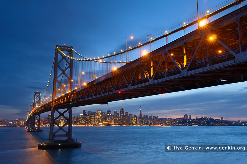 usa stock photography | Oakland Bay Bridge at Sunset, San Francisco Bay, California, USA, Image ID US-SAN-FRANCISCO-BAY-BRIDGE-0001