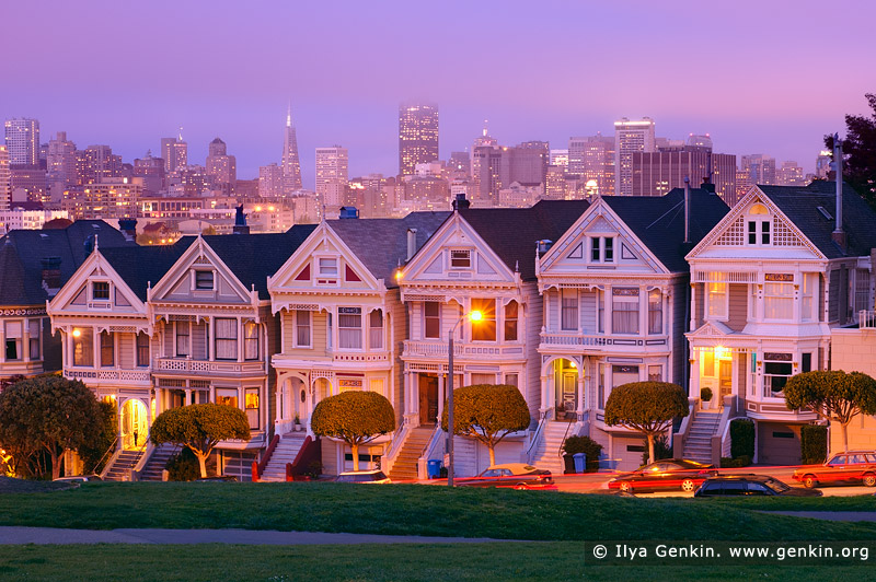 usa stock photography | The Painted Ladies at Dusk, Alamo Square, San Francisco, California, USA, Image ID US-SAN-FRANCISCO-PAINTED-LADIES-0001