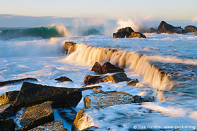 landscapes stock photography | Waves Crashing at Forresters Beach, Forresters Beach, Central Coast, NSW, Australia