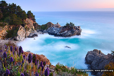 landscapes stock photography | McWay Falls after Sunset, Julia Pfeiffer Burns State Park, Big Sur, Monterey County, California, USA